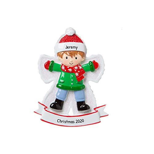 Personalized Snow Angel Boy Christmas Tree Ornament 2020 - Happy Kid Lying Down Fresh Snow Child-Hood Game Milestone Photo Memory Grand-Son Winter Tradition Year - Free Customization
