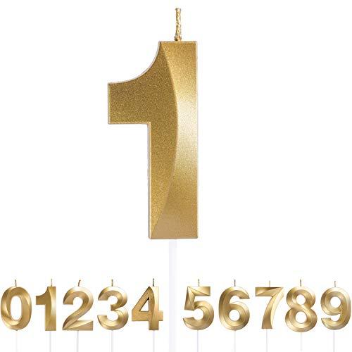 URAQT Velas De Cumpleaños Número 1, Velas De Cumpleaños Oro, Adecuado para Fiestas De Cumpleaños, Aniversarios De Bodas, Fiestas De Jubilación, Etc. 7cm