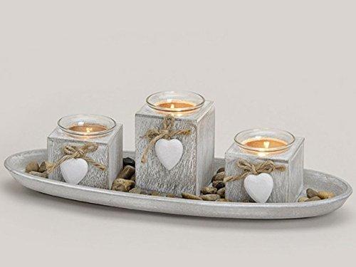 meindekoartikel Schönes Deko-Set mit 3 Teelichthalter - dekoriert mit Herzen auf Tablett und Dekosteine - grau b39h10t14cm