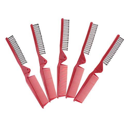 SOLUSTRE 5pcs rouge portable peigne pliable double tête cheveux longs cheveux raides peigne pliant brosse à cheveux anti-statique pour Voyage