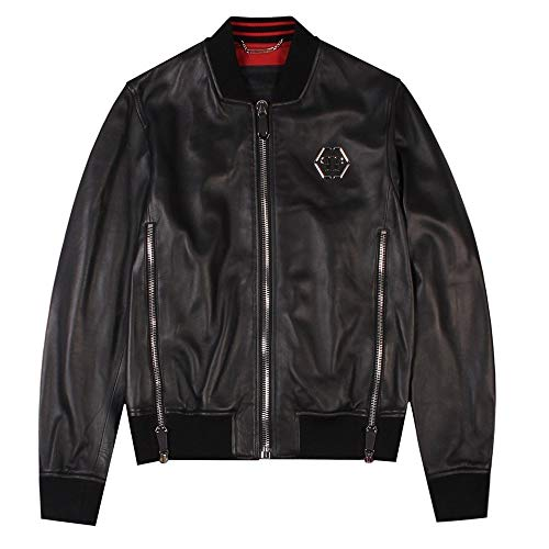 PHILIPP PLEIN 'Serge Giacca in Pelle Black Extra Extra Large