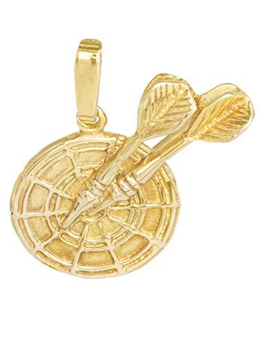 Dart Anhänger (Ohne Kette) Gelbgold 333 Gold (8 Karat) Massiv Ø 20mm Darts Dartscheibe Dartpfeil Dartboard Herrenschmuck Sombreuil V0009219