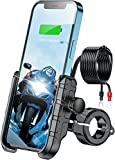 KEWIG Motorcycle Phone Mount Charger USB QC 3.0 36W, Waterproof 12V/24V Motorcycle Phone Holder with Charger Mount on 22-32mm Handlebar or Mirror Bar Adjustable Fit 4-7 inch Cellphones