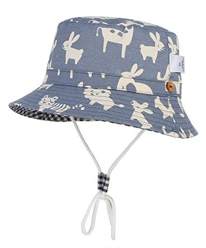 GEMVIE Baby Mütze Sommer Mädchen Fischerhut Jungen Sommer Sonnenhut Kinder Sonnenschutz Kappe Mütze mit Tierdruck (6-12 Monate)