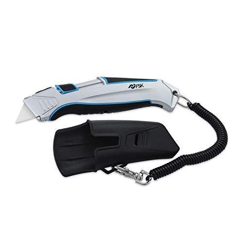 Ferrestock FSKTWC001 Cuchillo cúter cerámico Auto-retráctil con Cable de Seguridad, Cuerpo de...