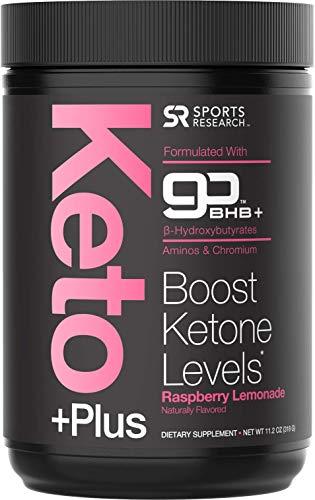 Sport Research's Vegan Friendly (Raspberry Lemonade) Vegan certified Keto PLusTM Exogenous Ketones (goBHBTM) - 30 Servings   Formulated for Ketosis, Energy and Focus