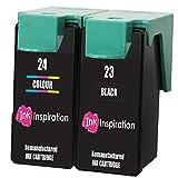 INK INSPIRATION Remanufacturados para Lexmark 23 & 24 Cartuchos de Tinta compatibles con Lexmark X3430 X3500 X3530 X3550 X4500 X4530 X4550 Z1400 Z1410 Z1420 Z1450   Negro/Tricolor, Alta Capacidad