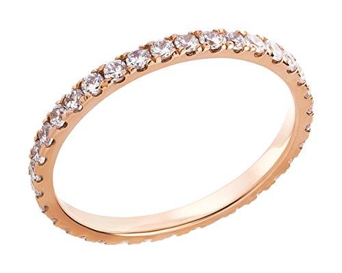 Ardeo Aurum Damenring aus 375 Gold Rosegold mit Zirkonia im Brillant-Schliff Memory-Ring Eternity Vorsteckring