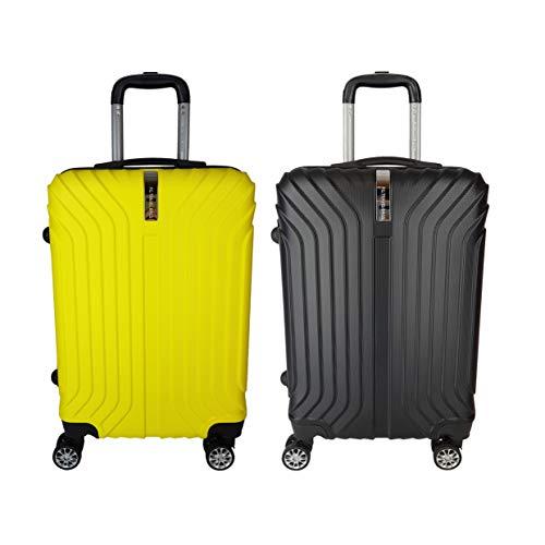 coppia Trolley Bagaglio a mano ABS rigido 8 ruote FG Travel green -yellow