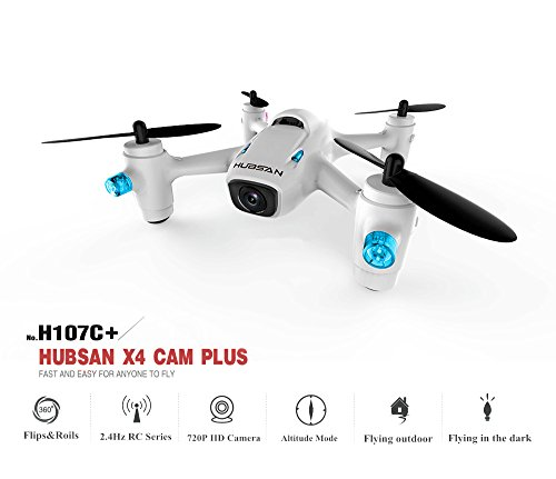 HUBSAN x4 H107C Plus drone with 720p HD camera 4 Channels 6-axis Gyro RC Helicopter Altitude Hold function ,Toy great for novice.