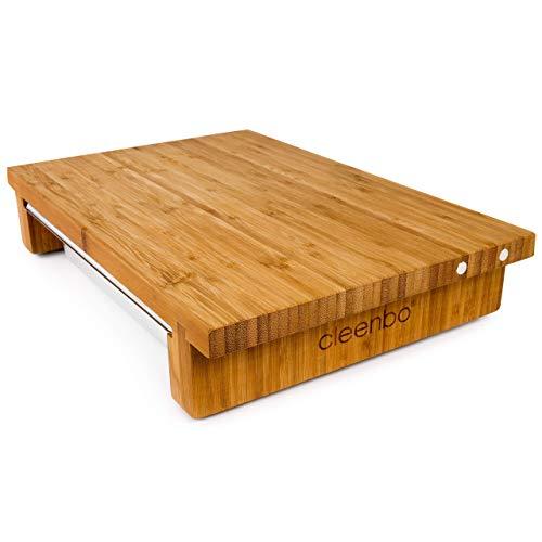 cleenbo® Schneidebrett Classic Bamboo GN mit magnetischer Messerhalterung und Edelstahl Auffangschale, Profi Holz Küchenbrett aus geöltem Bambus mit Behälter, Schneidbrett Maße: 43 x 29 x 7,5 cm