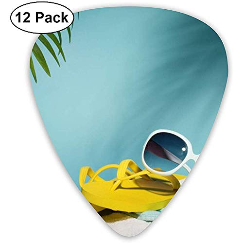 Strand hoed zonnebril plectrum set gitaar bas mandoline ukelele 0,46 mm 0,71 mm 0,96 mm verpakking van 12 plectrum plectrum houder