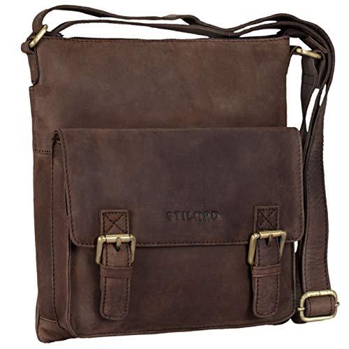 STILORD 'Leo' Bolso Hombre pequeño Cuero Vintage Bolso de Bandolera Unisex para 10.1 Pulgadas Tablet iPad A5 Documentos marrón de Piel auténtico, Color:marrón Oscuro - Opaco
