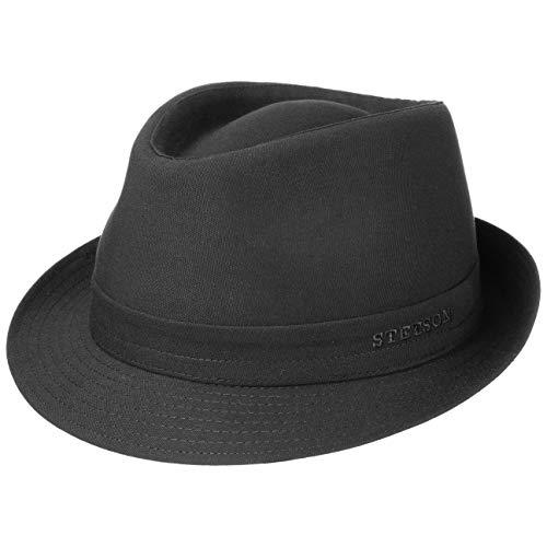 Stetson Teton Stofftrilby Damen/Herren - Trilby Made in Italy - Hut aus 100% Baumwolle - Sommerhut mit UV-Schutz 40+ - Sonnenhut Sommer/Winter schwarz 61 cm