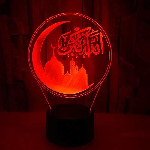 3D Lampe 3D Nachtlicht Islamische kreative bunte kleine 3D Tischlampe Milla Jovovich
