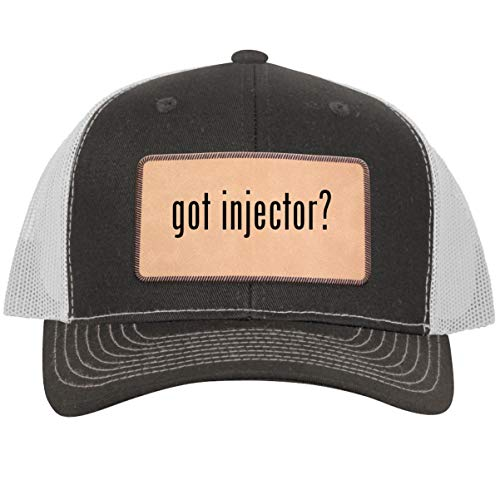 got Injector? - Leather Light Brown Patch Engraved Trucker Hat, Grey-White, One Size