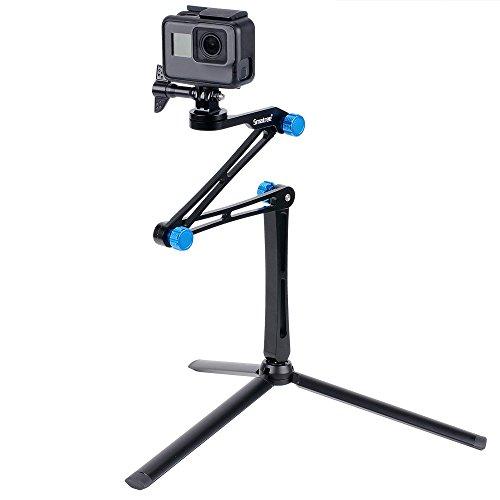 Smatree Aluminium Faltbarer Multifunktions-Pole/Monopod mit Stativständer für DJI OSMO Action/GoPro Hero 9/8/7/6/5/4/3/ Session-Ricoh Theta S, Hero Max, 4K Action-Kameras, Kompaktkameras und Handys