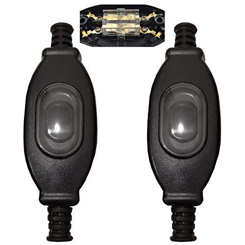 Mirrwin Interruptor Prueba de Agua IP65 Interruptor Intermedio Interruptor de Cable 2 polos Interruptor Pequeño Adecuado para la lámpara de Dormitorio de Escritorio de Area al Aire Libre 2 PCS Negro