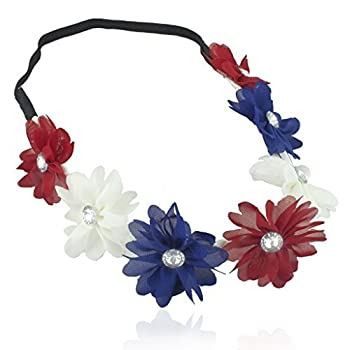 Lux Accessories Red White Blue American Flag 4th of July Independence Floral Flower Stretch Crystal Headband