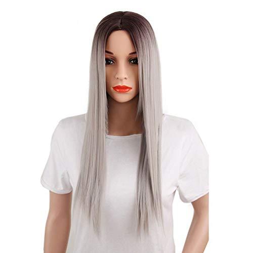 Peluca recta larga Sin encaje Frente Pelucas de cabello, Hombre Brown Roots, cabello gris plateado para mujeres niñas 66 cm Nueva moda Cosplay disfraces fiesta de carnaval, fibra resistente al