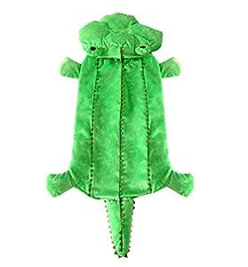 Smalllee Lucky Ranger Medium Dog Vêtements pour femelle mâle Crocodile Costume pour chien à capuche Manteau d'hiver Vert