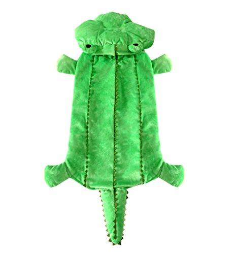 smalllee_lucky_store Costume de crocodile à capuche pour chien de petite taille et moyenne taille - Vert d'hiver - Taille 4XL
