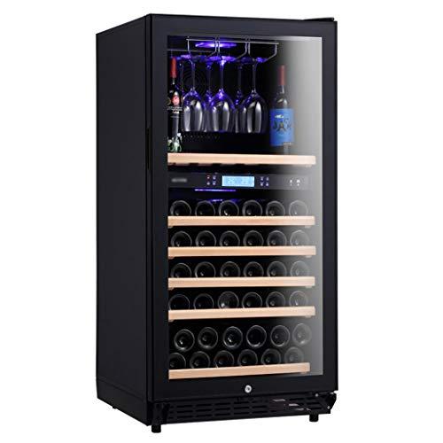 GXFC Vinoteca Independiente, Nevera de Vino/Bebidas de Zona de Doble Temperatura, Percha de Copa de Vino, Control tactil/Pantalla Digital de Temperatura