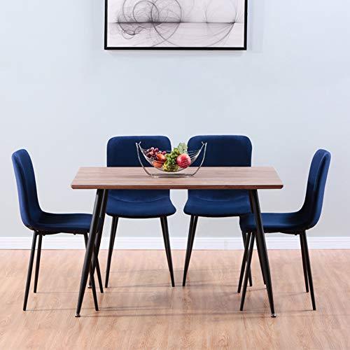 GOLDFAN Juego de 4 mesas de comedor y sillas rectangulares de madera con patas de metal y 4 sillas de terciopelo para comedor (marrón y verde)