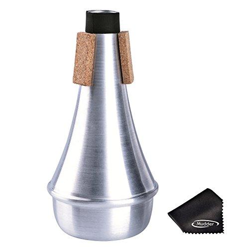 Training Trompete Straight Stummschall Dämpfer Aluminium mit Reinigungstuch, Silber