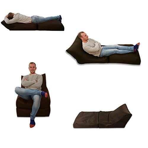 Puf cama y silla marrón para uso en exterior e interior, tamaño extragrande, asiento XXXL para videojuegos, resistente a la intemperie (resistente al agua)