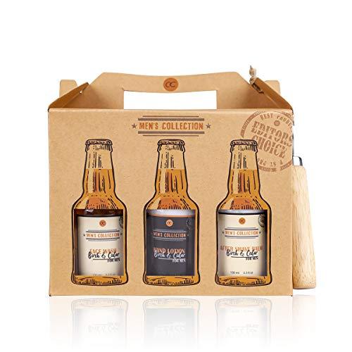 Accentra Sixpack Geschenk- set für Männer mit Flaschenöffner im Bierträger - 7 teilig Pflegeset Bier für Herren mit Duschgel, After Shave, Bodylotion, Shampoo uvm
