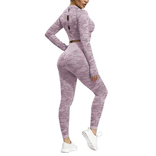 Xinvivion Damen Yoga Bekleidung Set Tarnung Nahtlose Turnhalle Langarm mit Daumenloch Fitness Workout Lauf-Outfits