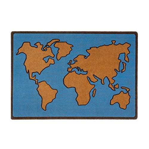Balvi Felpudo World Map Color Azul Alfombra para Interior y para Exterior. Poliéster/plático PVC