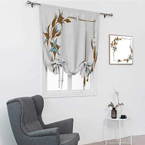 GugeABC Rideaux de porte marron et bleu, motif floral avec lignes courbes d'inspiration botanique abstrait pour fenêtre, bleu pâle, blanc, 99,1 x 162,6 cm