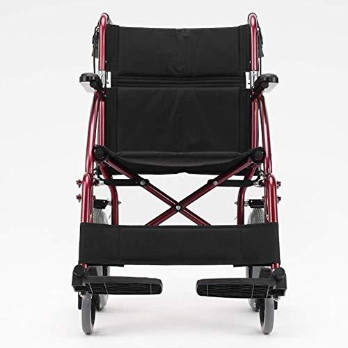 IREANJ Silla de rehabilitación médica, silla de ruedas, silla de ruedas plegable de peso ligero de conducción médica, Silla de ruedas plegable de ancianos Luz Pequeño aleación de aluminio ultr