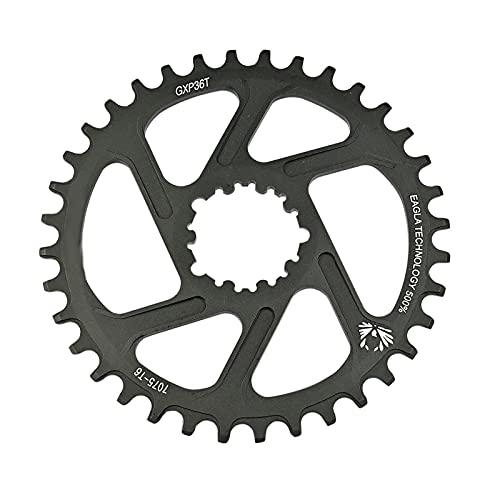 QSMGRBGZ Plato De Bicicleta, 32T 34T 36T 38T Estrecho Ancho De Aleación De Aluminio Plato, Accesorios Positivos Negativos Dientes Single Disc MTB (3Mm Offset),Negro,36T