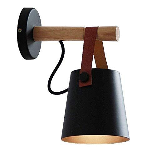 Holzwand Lampen, Mini Persönlichkeit LED schwarz/weiß Eisen Wandbehang Lampe moderne minimalistische Wohnzimmer Studie Schlafzimmer Wandleuchte