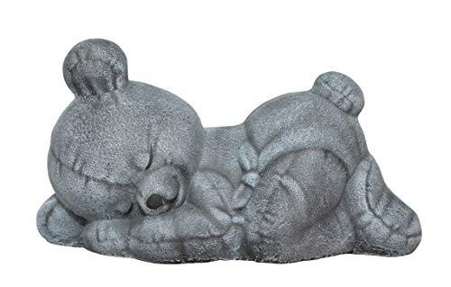 Tiefes Kunsthandwerk Steinfigur Teddybär schlafend Steinguss Schiefergrau