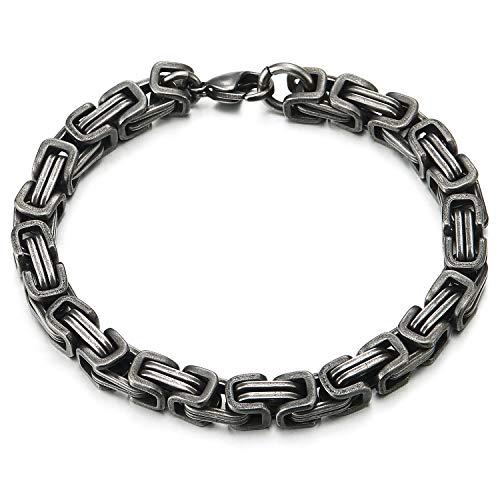 COOLSTEELANDBEYOND Stainless Steel Braid Link Bangle Bracelet for Men, Old Metal Finishing, Punk Rock Biker