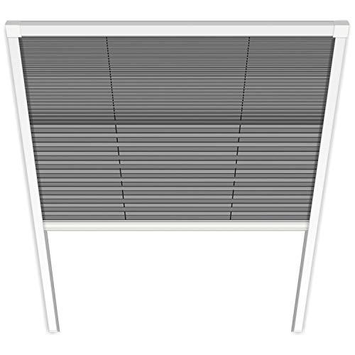 Fliegengitter Plissee für Dachfenster, weiß - Insektenschutz Dachfenster-Plissee Moskitonetz Mückengitter Fenstergitter Fliegenschutz (114 x 160 cm, Uno-Plissee)