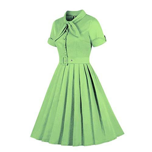 Damen Rockabilly Kleid, Frauen Vintage Kleid 50Er Retro Ballkleid Elegante Kleider Lange Kleider Sommer Festliche Damenkleider Knielang Swing Dress
