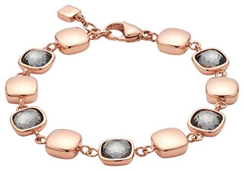 JEWELS BY LEONARDO Damen Armband Cuscino Edelstahl/roségold Glas grau 18 cm Karabinerverschluss 016579