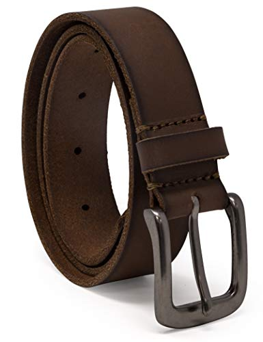Timberland Boys' Big Leather Belt for Kids, Brown/Classic, Large