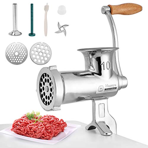 Huanyu Manual Meat Grinder Stainless Steel Hand Crank Meat...