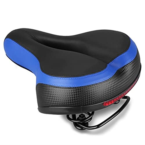 Bike Seat Bicycle Saddle, Wide Thicken Bicycle Saddle Seat, Shock Absorbing Springs, Reflective Strip, Oversize Bike Seat Cushion, Wide Soft Padded Bike Saddle for Women and Men (Color : B)