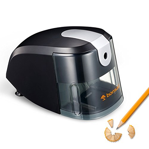 Bonsaii Electric Pencil Sharpener, Heavy Duty Helical Blade, Ideal for School,Home and Office, Black (Upgraded version P111-A)