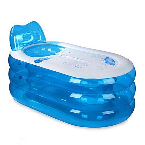 THMY Bañera Inflable Plegable, Piscina para niños Adultos, bañera de PVC Resistente para el hogar, bañera Plegable portátil con Bomba eléctrica (Azul)