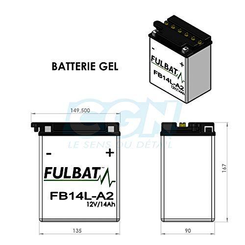 Fulbat - Batteria moto Gel YB14L-A2 / FB14L-A2 / 12N14-3A 12V 14Ah