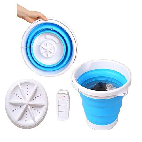 Kacsoo Mini lavadora turbo, tina de lavandería plegable, lavadora ultrasónica plegable alimentada por USB, mini lavadora portátil eléctrica, lavadora de cubo plegable (3 in 1)