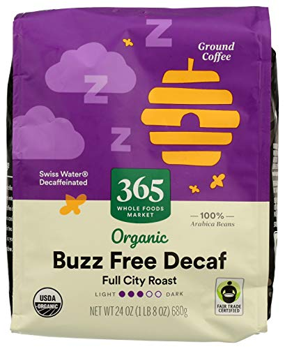 365 by Whole Foods Market, Organic Ground Coffee, Full City Roast - Buzz Free Decaf (Bag), 24 Ounce